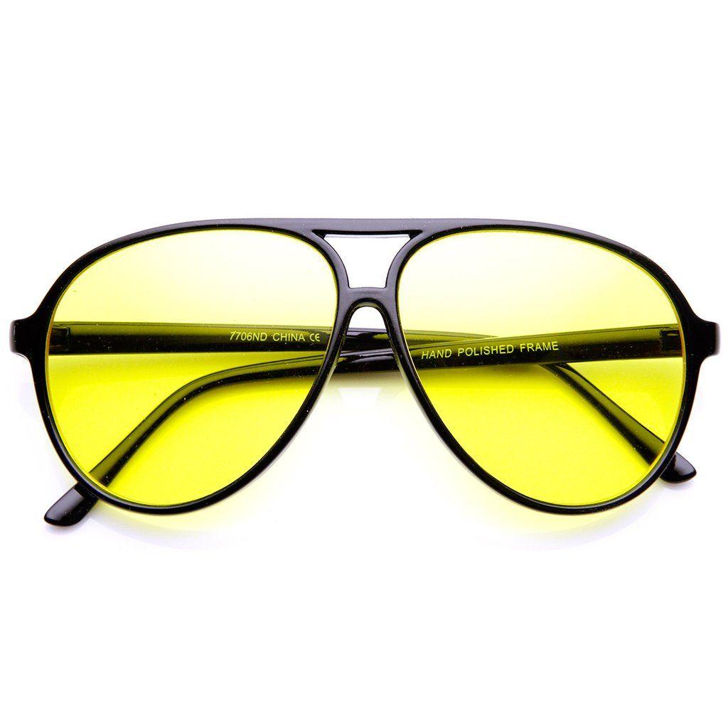 e381d9f635 Retro 80 s Style Driving Lens XL Large Plastic Aviator Sunglasses in ...