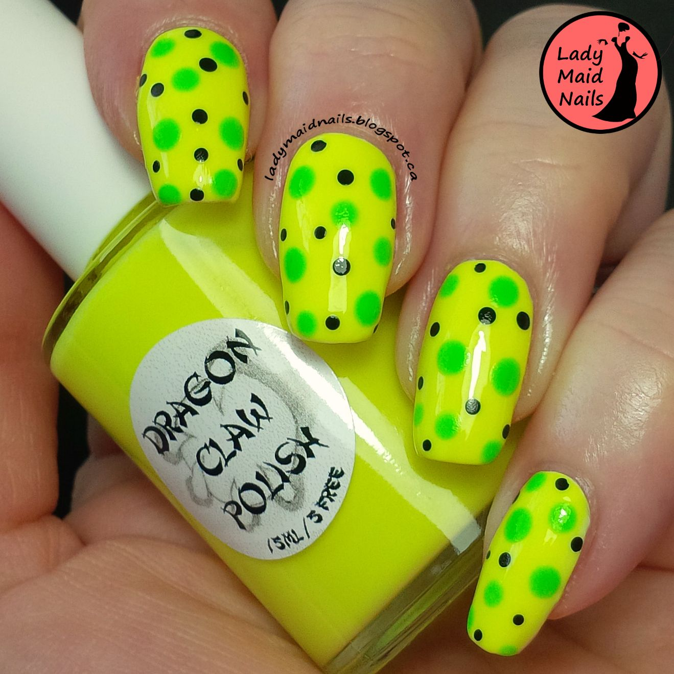 Lady maid nails dragon claw polish banana dots easy nail art
