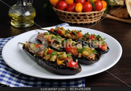 Appetizer eggplant with tomatoes stock photo