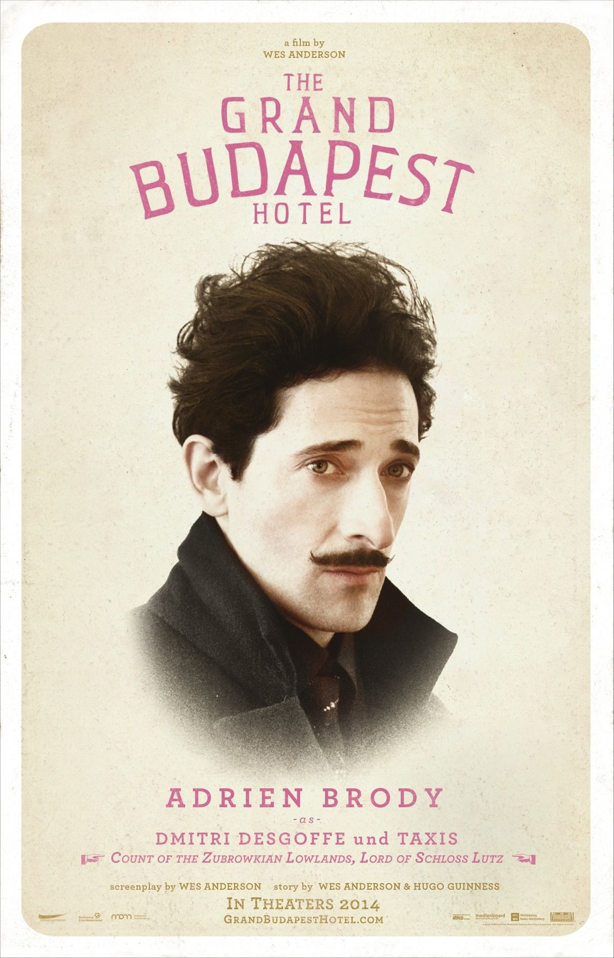 The Grand Budapest Hotel - Adrien Brody | #movieposter #design