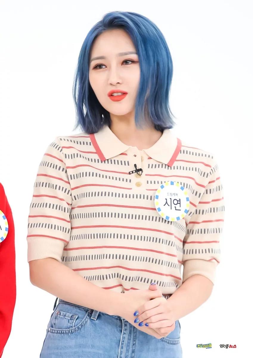 Weekly Idol Ep 430 Naver Update Dreamcatcher Siyeon In 2020 Dream Catcher Short Blue Hair Women