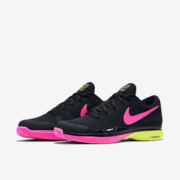 Nike Zoom Vapor Flyknit Mens Tennis Shoes Black Volt Pink 845797 007 Federer