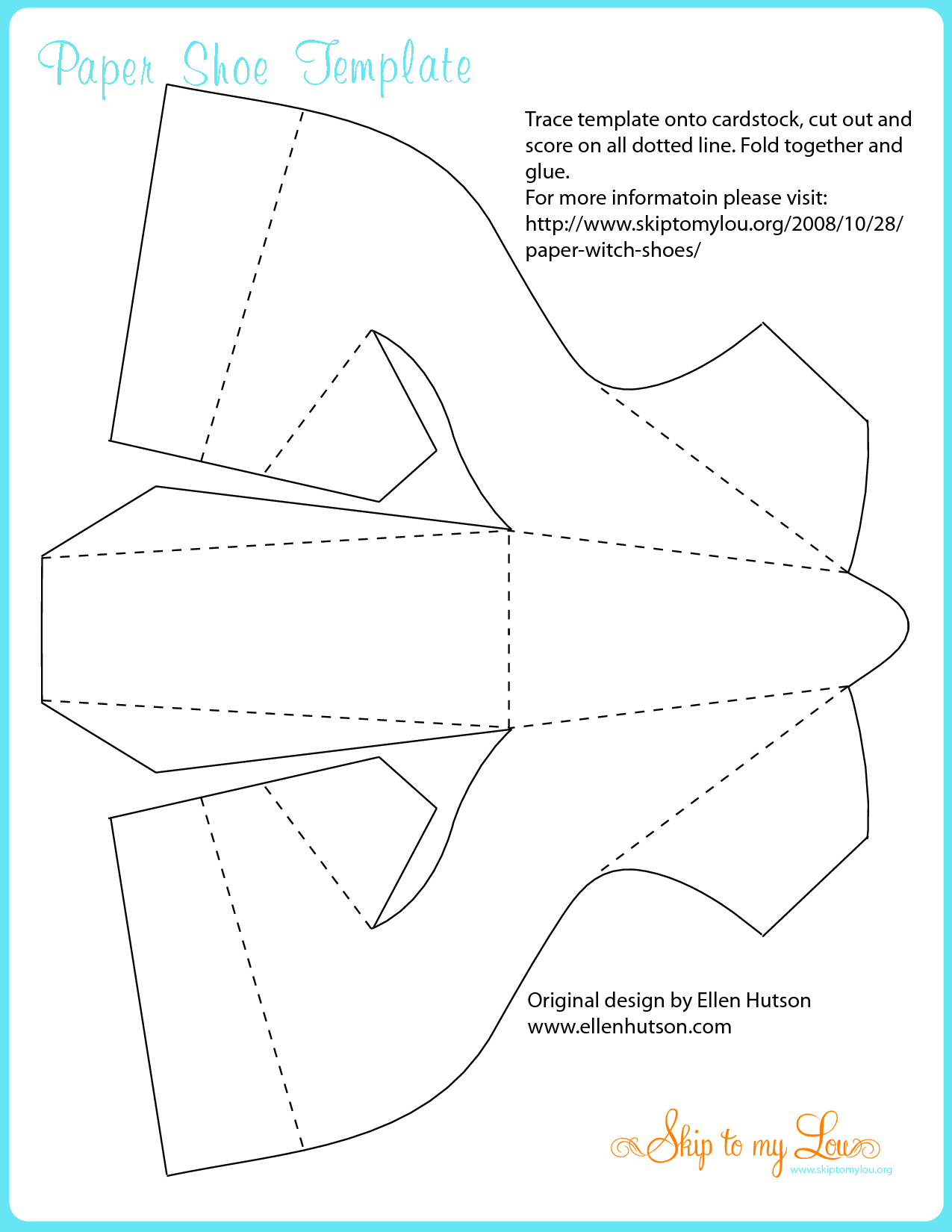 Decorative witches shoes trace template onto cardstock for Paper witch hat template