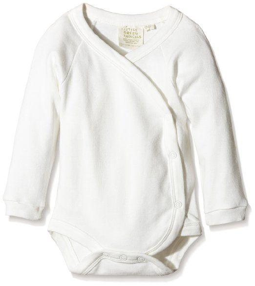 Little Green Radicals Unisex Baby Organic Long Sleeve Kimono Bodysuit, 0-3M (Natural)