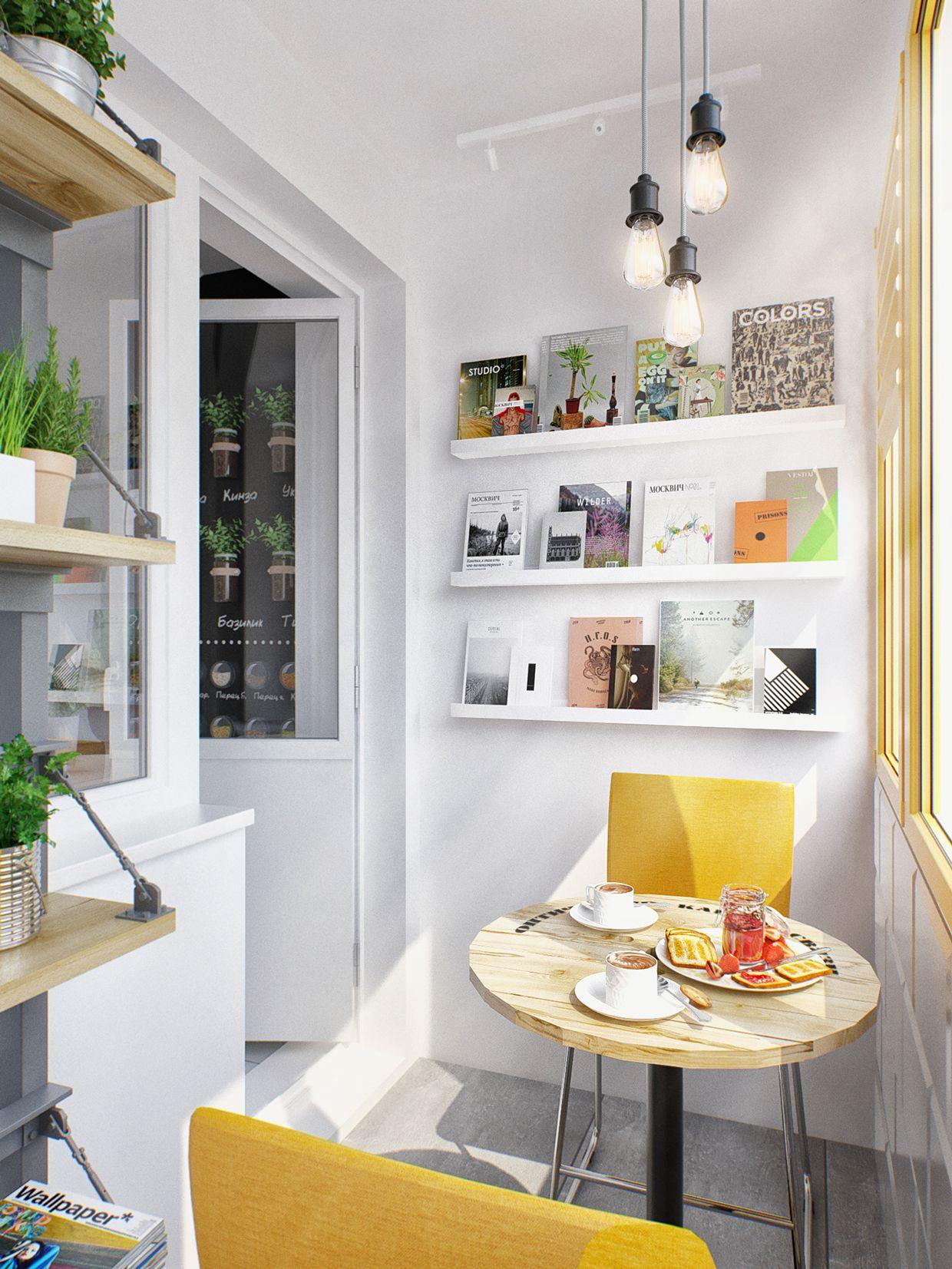 kleine wohnung modern und funktionell einrichten_ kleiner balkon kreativ einrichten mit gelben sthlen und rundholztisch - Wie Man Ein Kleines Studioapartment Einrichten Kann