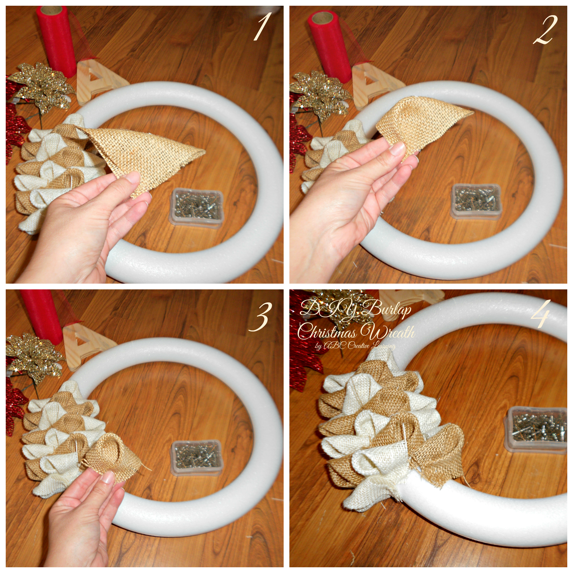 Diy burlap christmas wreath diy tutorial christmas burlap Burlap xmas wreath