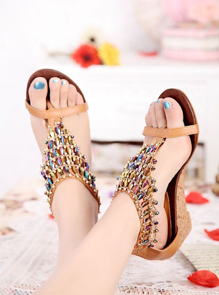 Summer Ladies Comfortable Sandals,Womens Solid Color Fashion Wedges String Bead Casual Roman Sandals Shoes