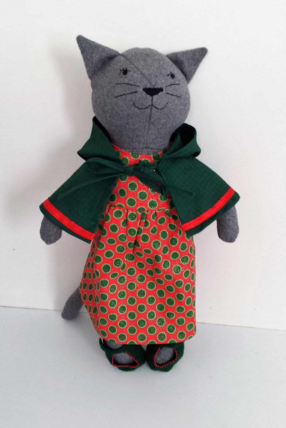 Rag Doll Cat in Christmas Clothes, Cat Doll, Stuffed Animal Cat ...