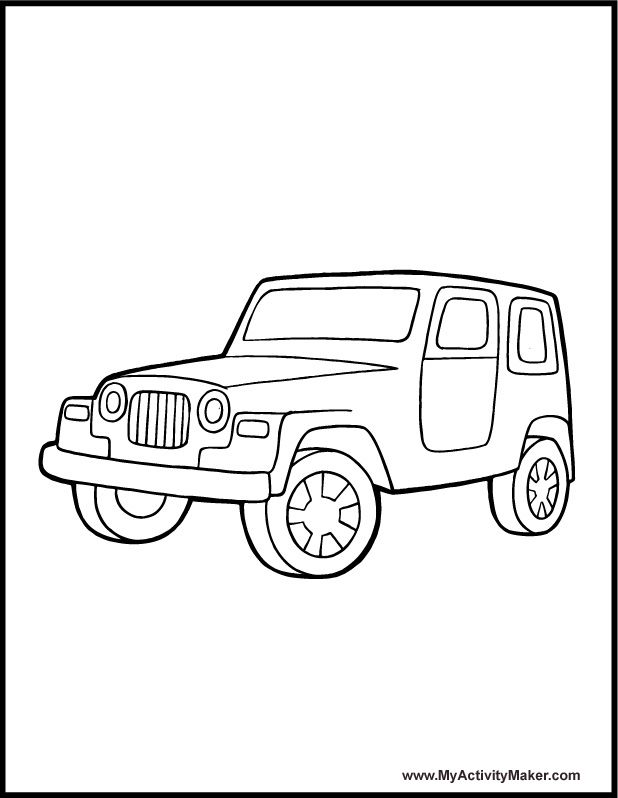 Safari Jeep Coloring Pages Coloring Pages Transportation My Activity Maker Safari Jeep Preschool Coloring Pages Coloring Pages