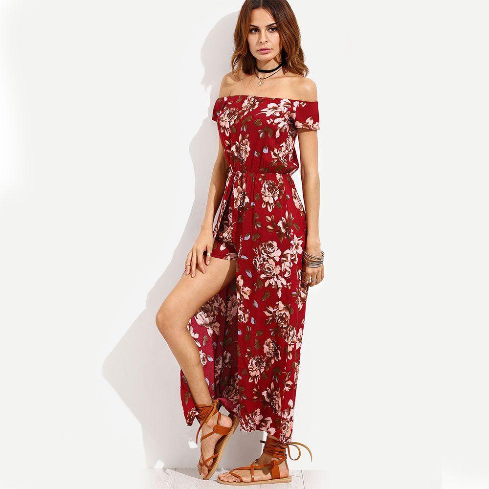 11e169af25f6a Boho Style Long Dress Women Off Shoulder 2017 New Beach Summer Dress New  Year Vintage Chifon