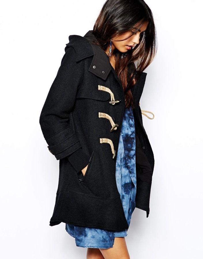 Boiled Wool Mix Duffle Coat Black | Duffle coat, Free people and ...