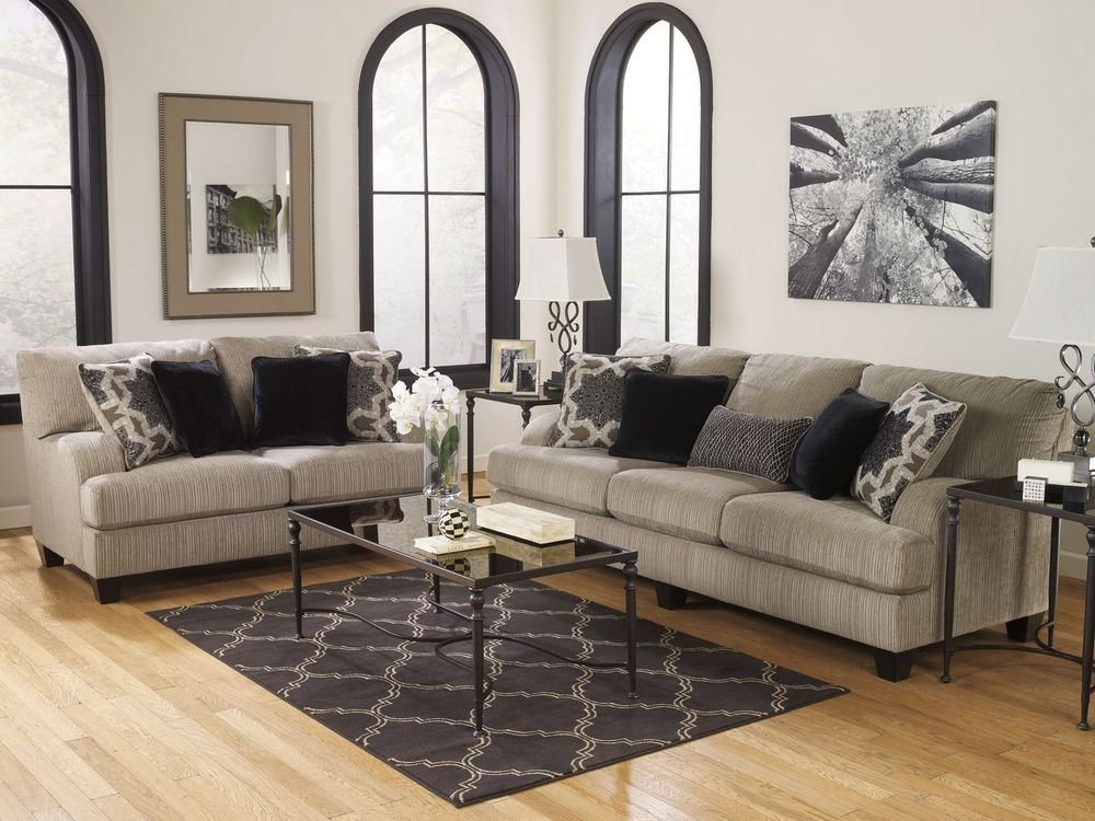 Vista Contemporary Gray Microfiber Sofa Couch Loveseat Set Living