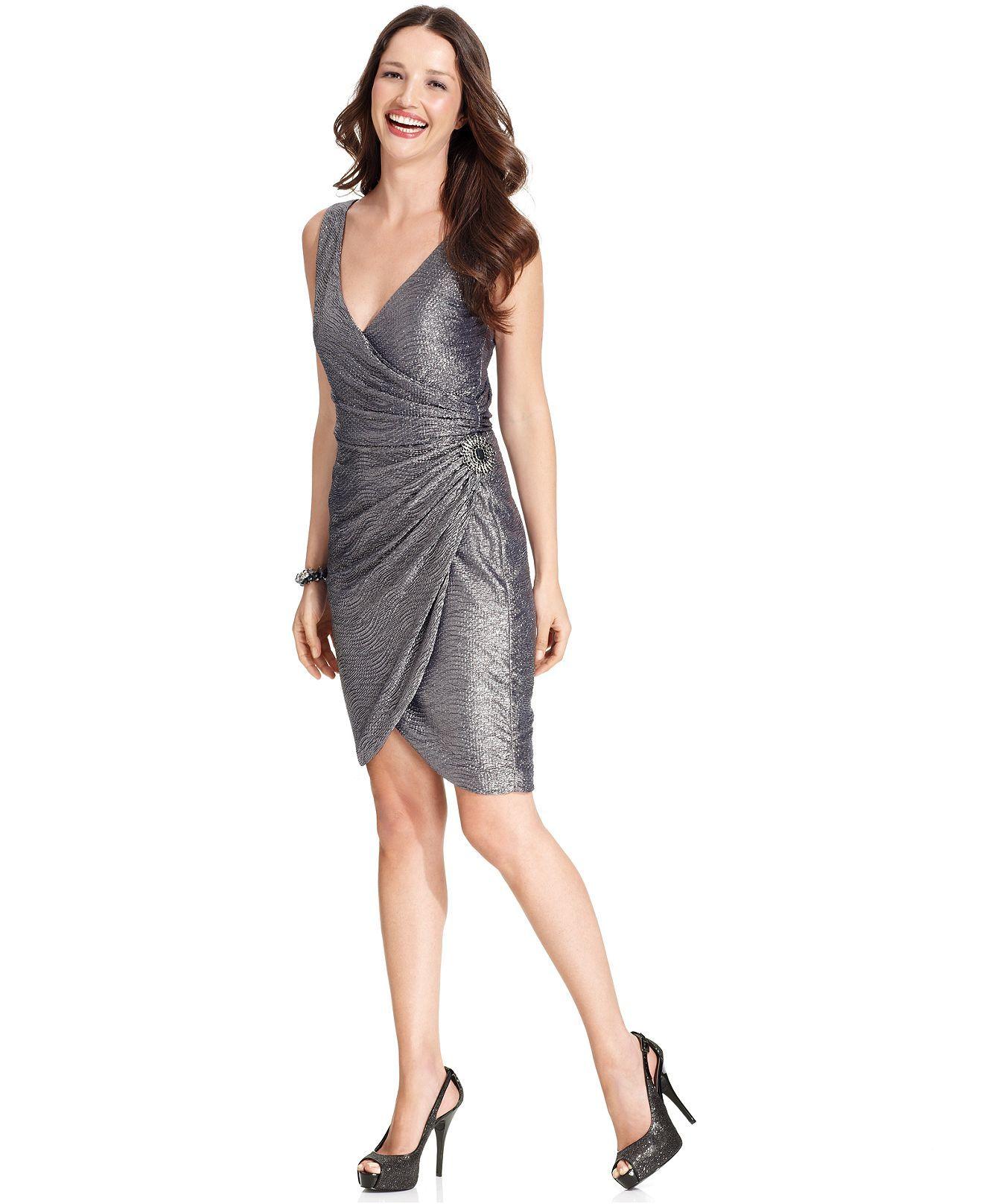 996f9779 Maggy London Dress, Sleeveless Metallic Tulip-Hem - Womens Dresses - Macy's