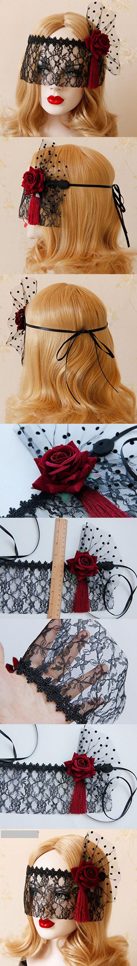 Idealgo retro black lace veil cover headdress funny party half face