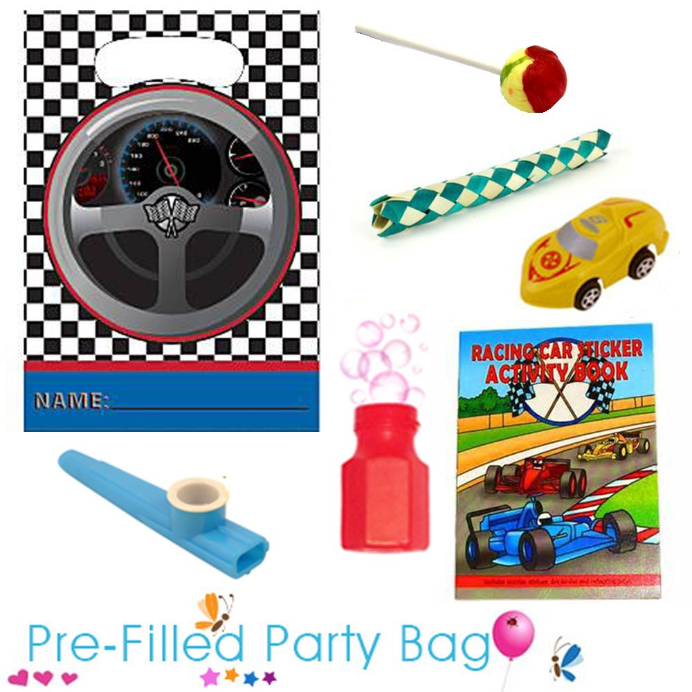 A party bag is a great gift to give to your guests at the end of a party. This Racing Car pre filled party bag is made up with: 1 x Traffic Light Lolly, 1 x Racing Car Sticker Activity Book, 1 x Kazoo, 1 x Chinese Finger Trap, 1 x Mini Pot of Bubbles, 1 x Racing Car Toy. #racingcar #racingcarparty #partybags #carparty