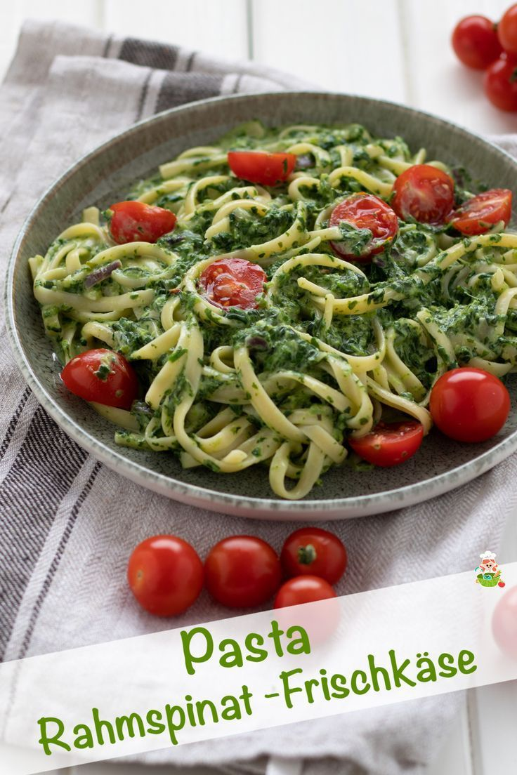 Pasta with creamed spinach cream cheese sauce and tomatoes   - Nudeln | Pasta | Rezepte -