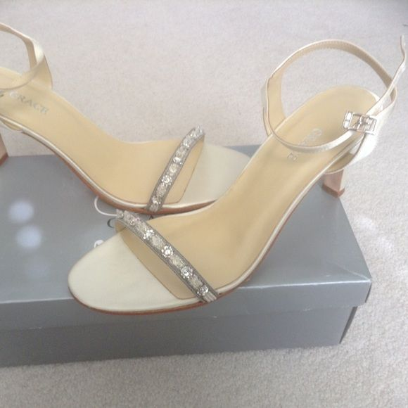 """Grace bridal shoes NIB. Silk Grace bridal shoe. Aria style. Color is candlelight. Never worn. 2 1/2"""" heel. Crystal beading with silver thread. Grace  Shoes Heels"""