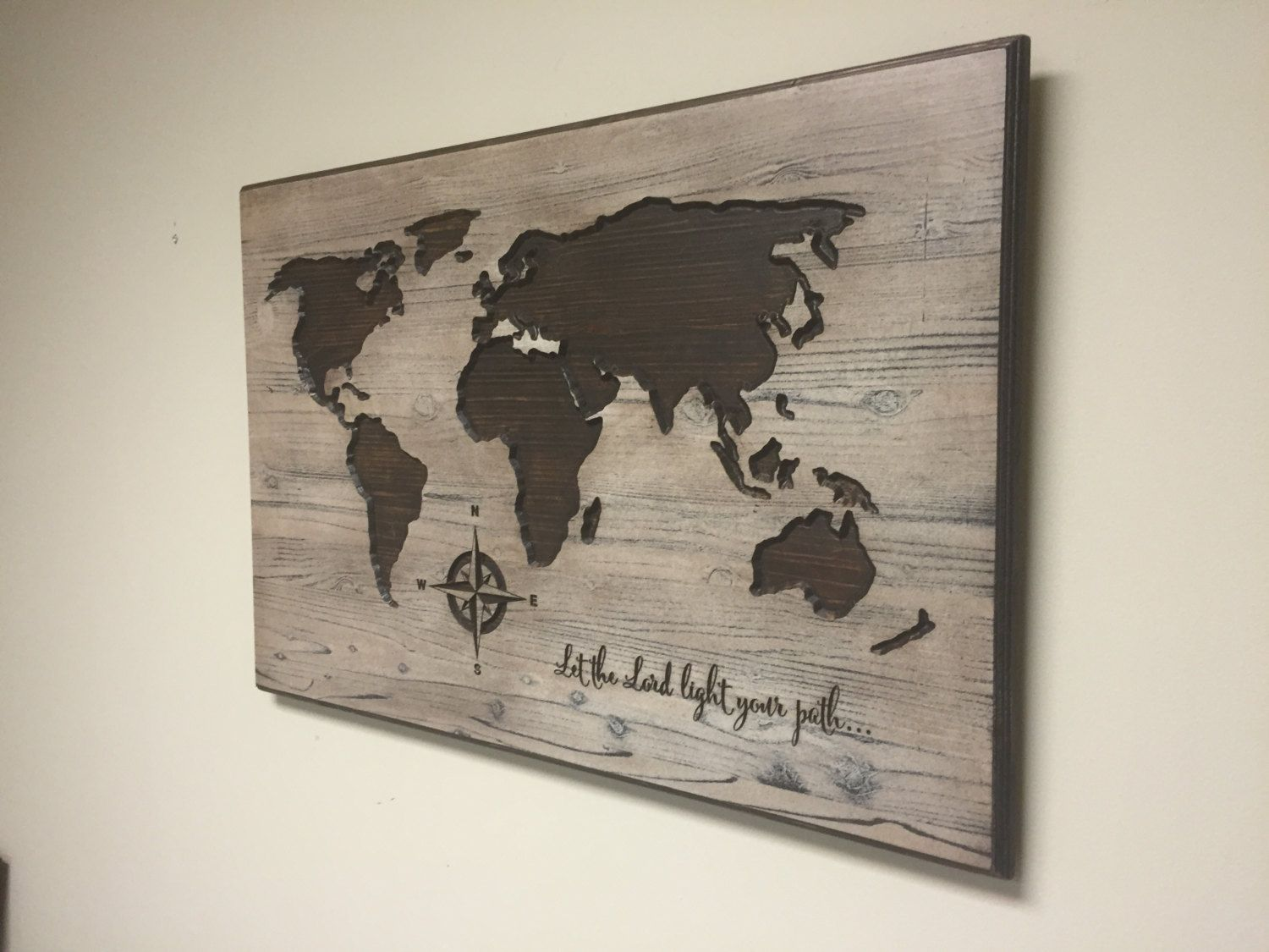 Carved world map wall art, Spiritual, Let the Lord Light your Path, wooden world map, wedding gift, wedding guestbook, housewarming present by HowdyOwl on Etsy