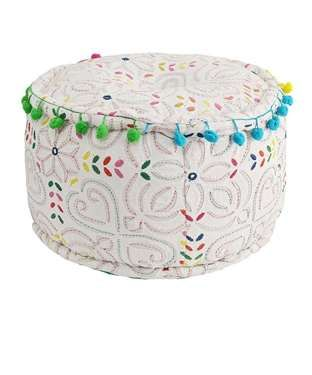 Embroidered Pouf (H- 10.5)""