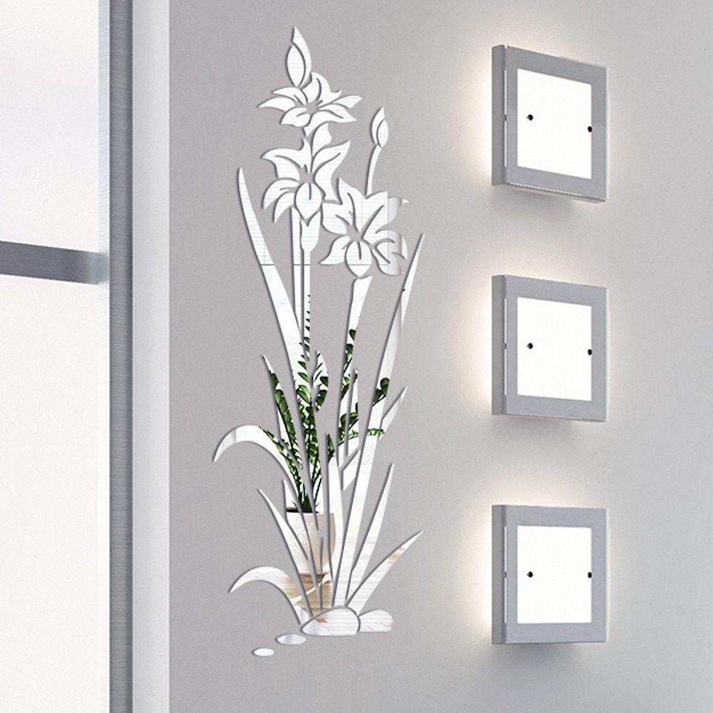 3D Mirror  Sticker Flower Decal DIY Wall Removable Art Mural Home Room Decor