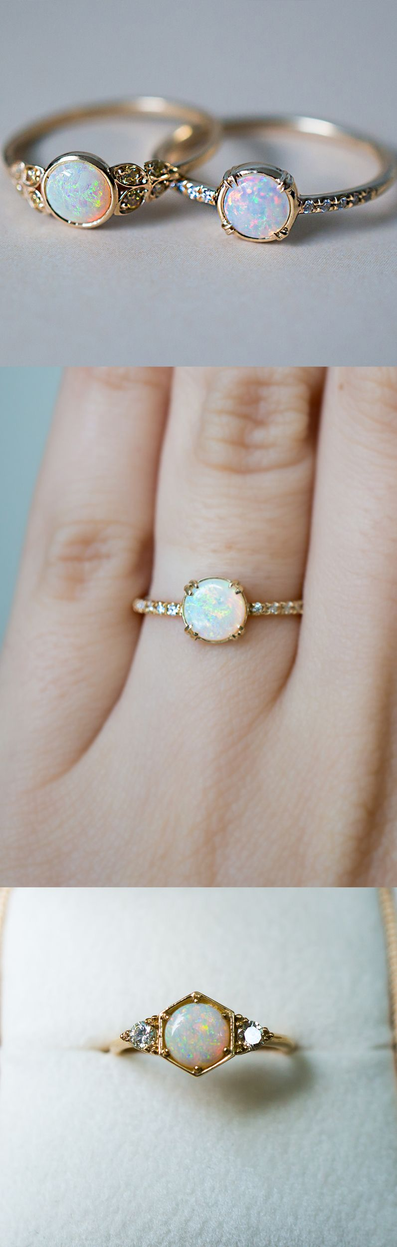 One of a kind opal engagement rings inspired by vintage style