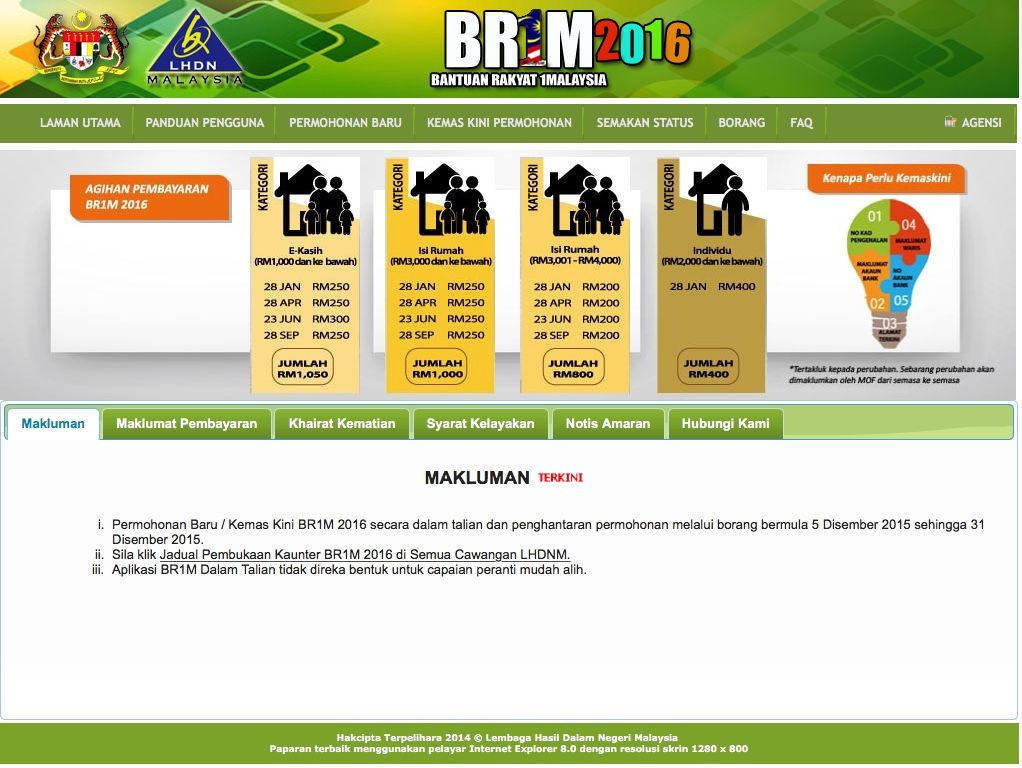 Borang Permohonan Br1m 2015 Online Ebr1m Hasil Gov My Malaysia