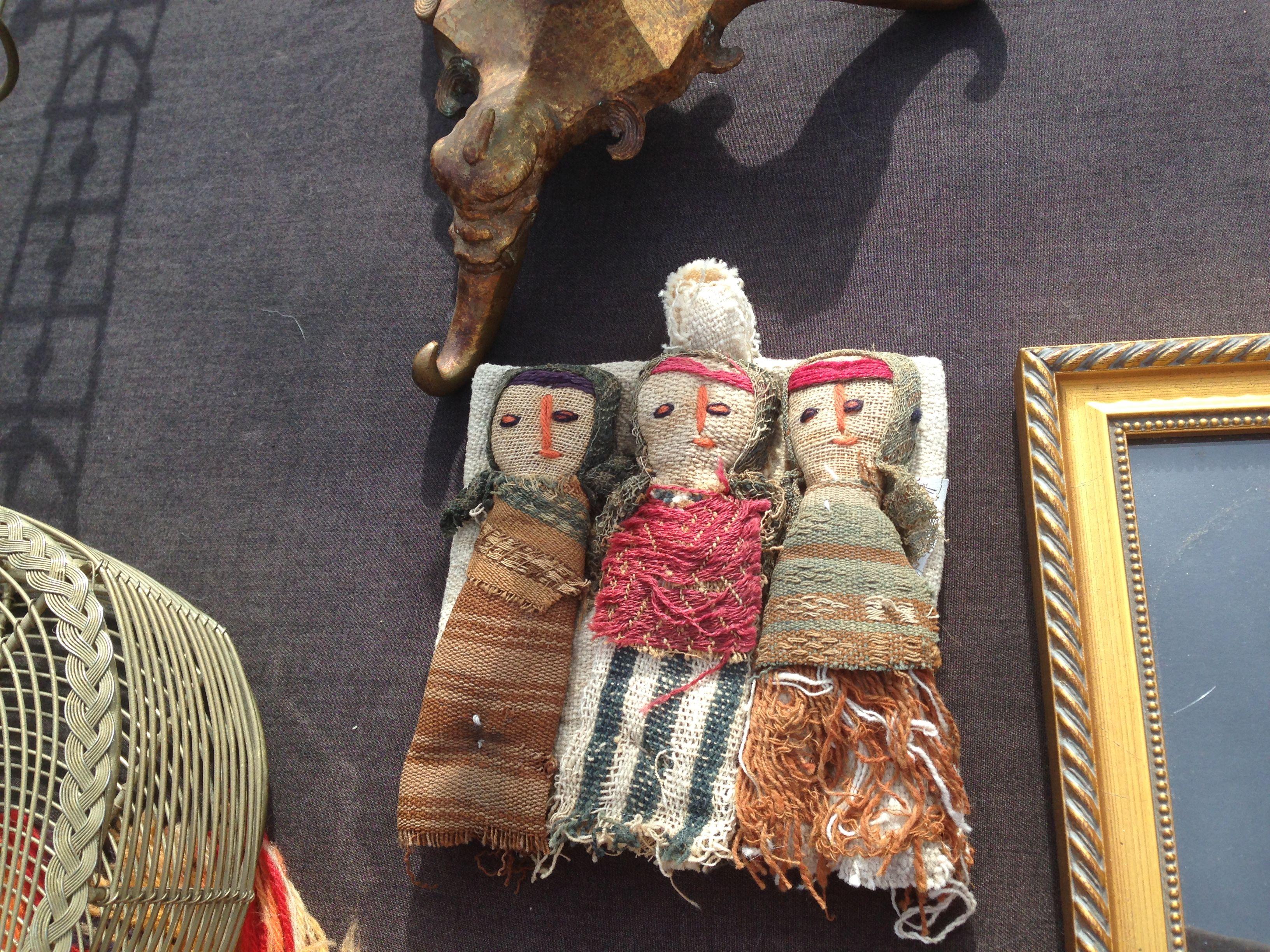 3 wrapped burlap dolls native american style rose bowl pasadena calif antique swap meet 11 2014. Black Bedroom Furniture Sets. Home Design Ideas