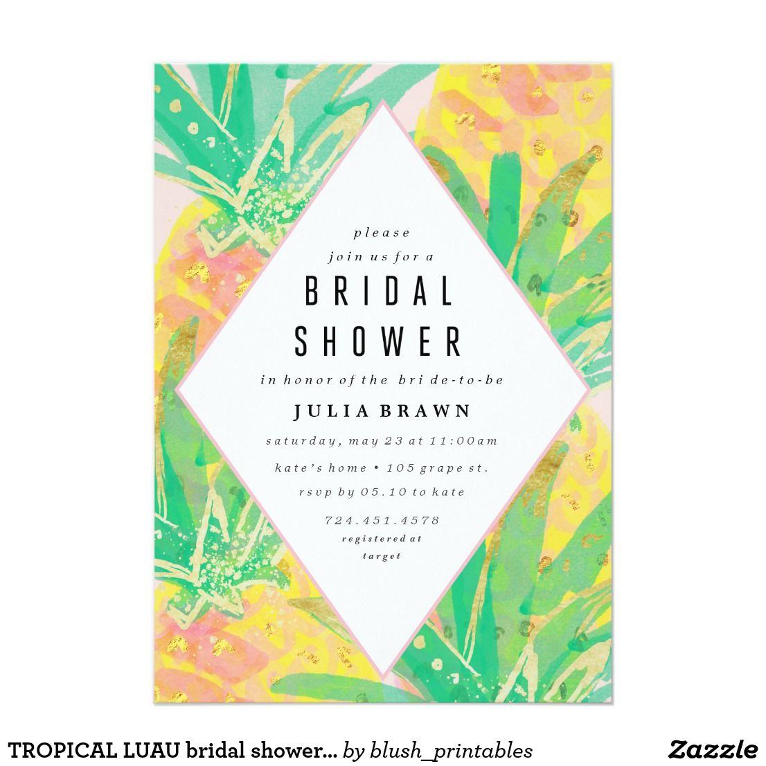 Tropical luau bridal shower invitation bridal showers shower tropical luau bridal shower invitation filmwisefo