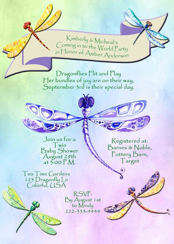 Dragonfly multi color baby shower invitation custom printable dragonfly multi color baby shower invitation custom printable filmwisefo Images