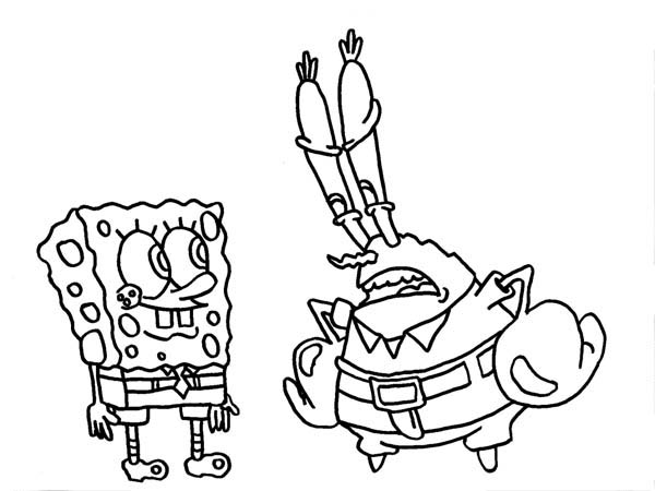 Mr Krabs Is Disappointed To Spongebob Coloring Page Netart Spongebob Coloring Mr Krabs Coloring Pages