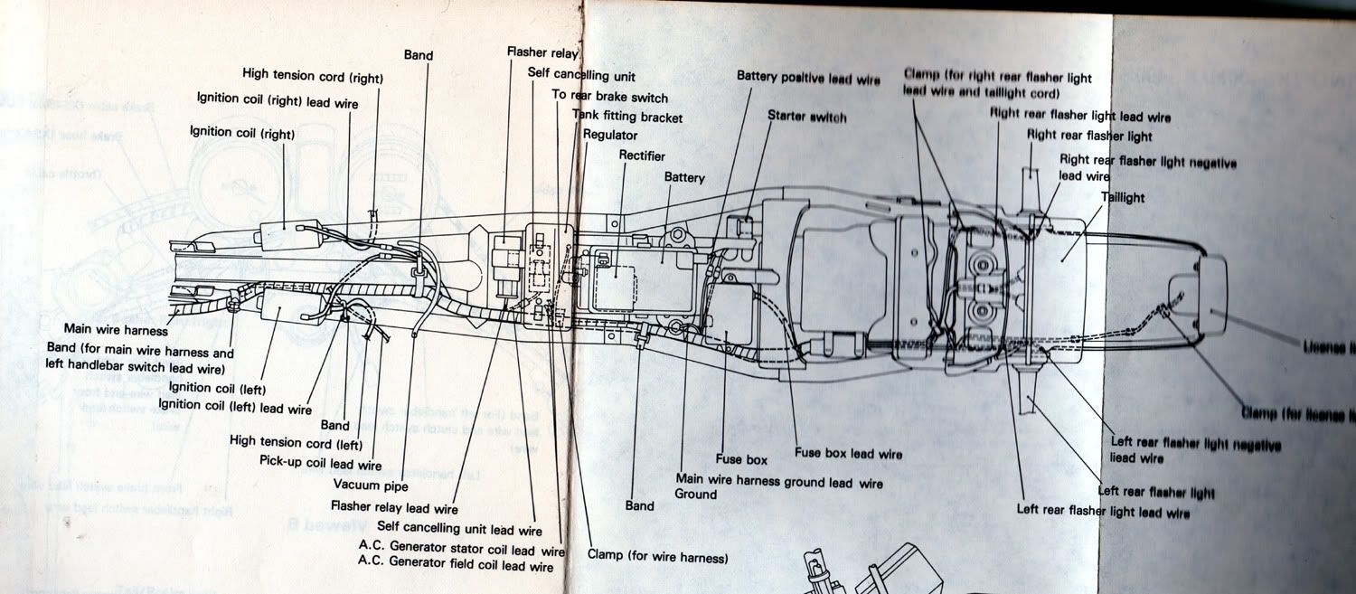 top view of wiring positioning for yamaha xs400 motorcyclez