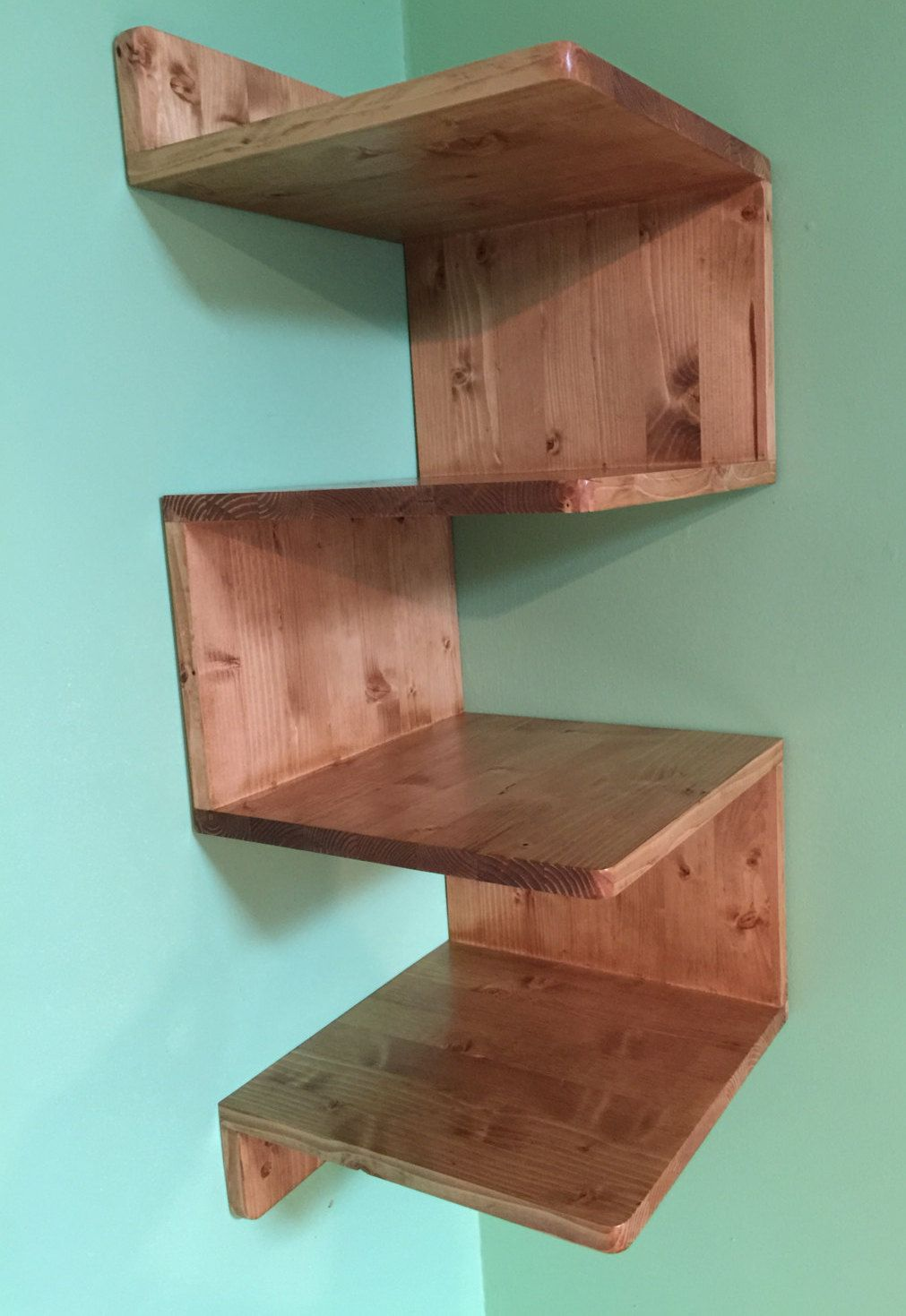 Zig Zag Corner Shelf Custommade Shelves Handmade Unit Stained Gift Solid Wood Shelving Wall By