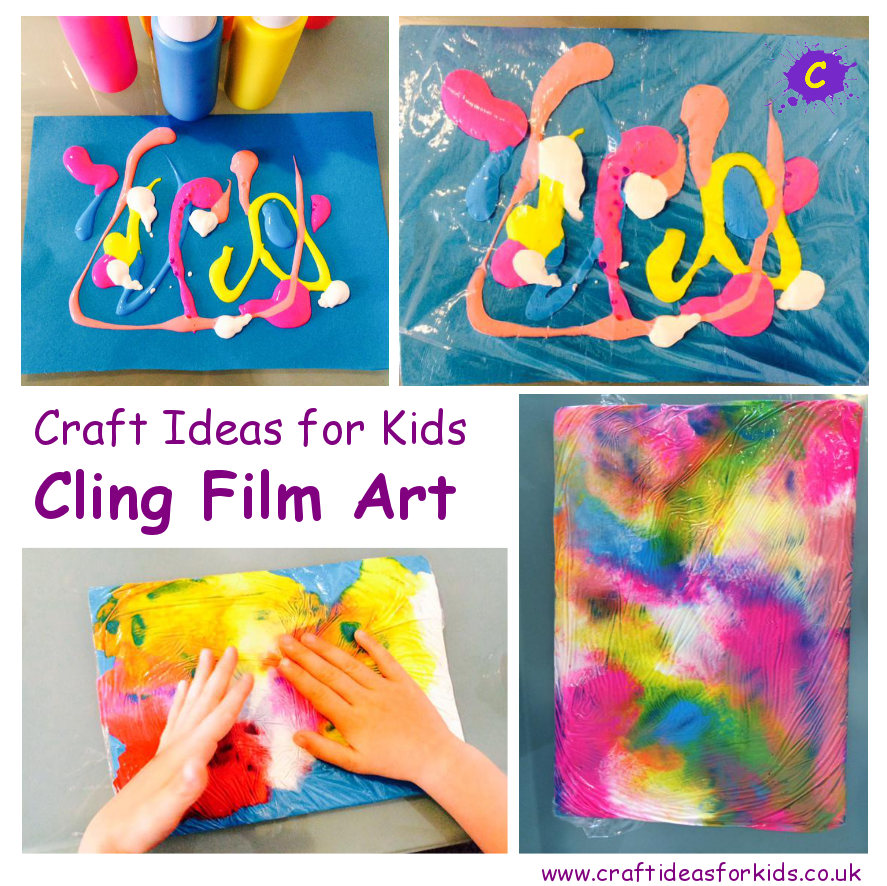 Crafts For Kids Ideas Part - 23: Craft Ideas For Kids - Cling Film Art