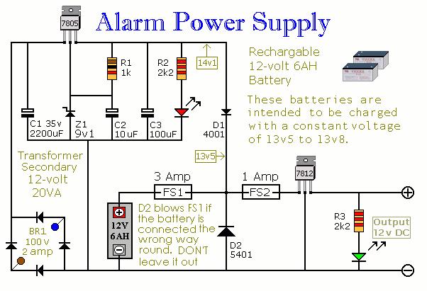 Alarm Power Supply Circuit Electronic Circuits