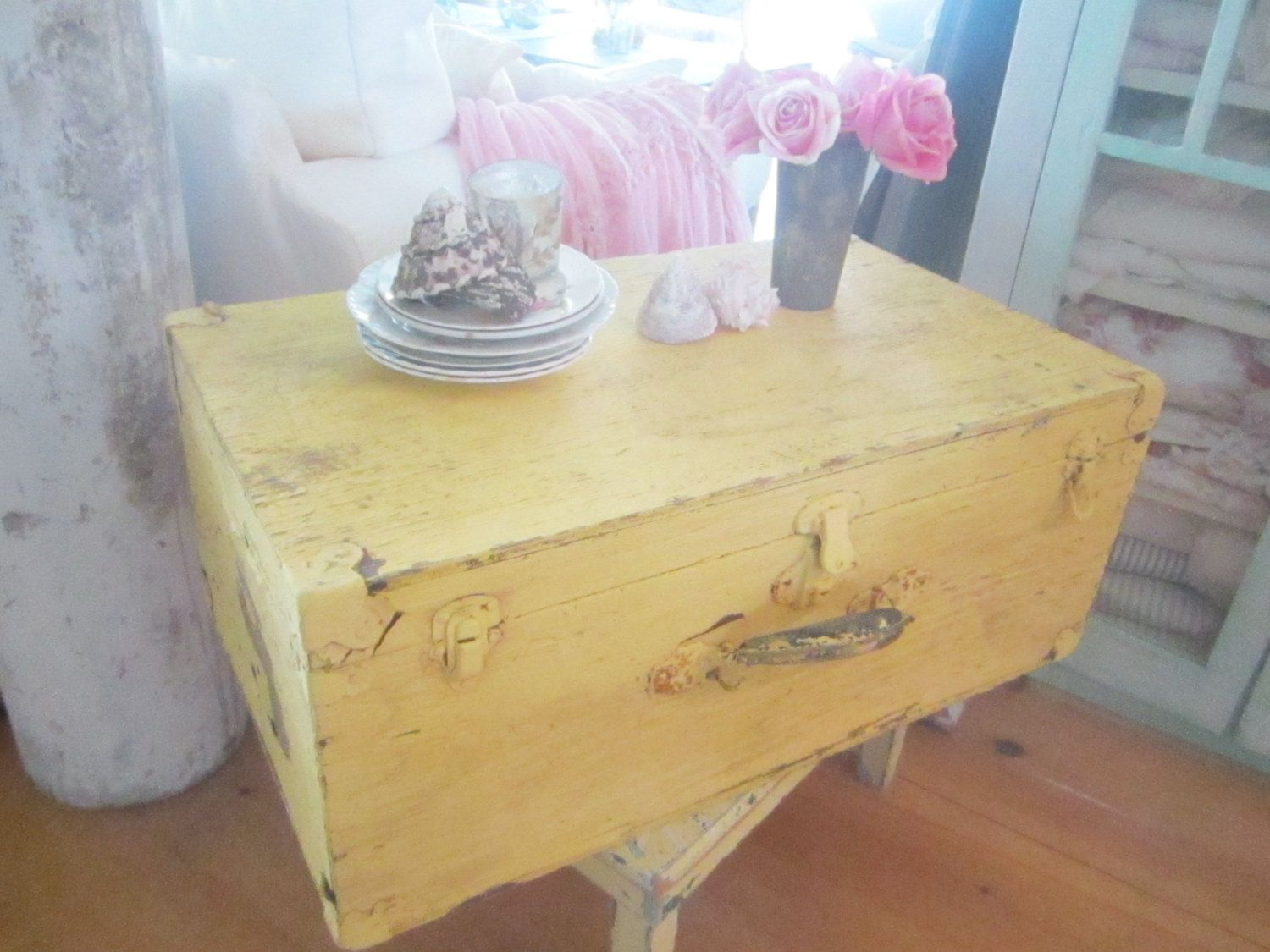 Yellow trunk shabby chic farmhouse wood trunk shabby chic cottage