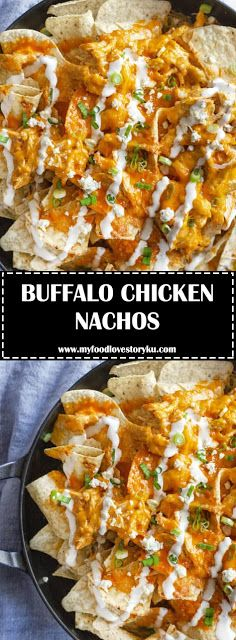 BUFFALO CHICKEN NACHOS - #recipes #buffalochickennachos