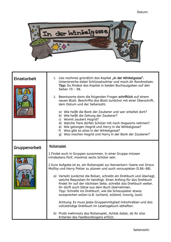 Aufgaben Zu In Der Winkelgasse Harry Potter Schule Deutsch Unterricht Winkelgasse