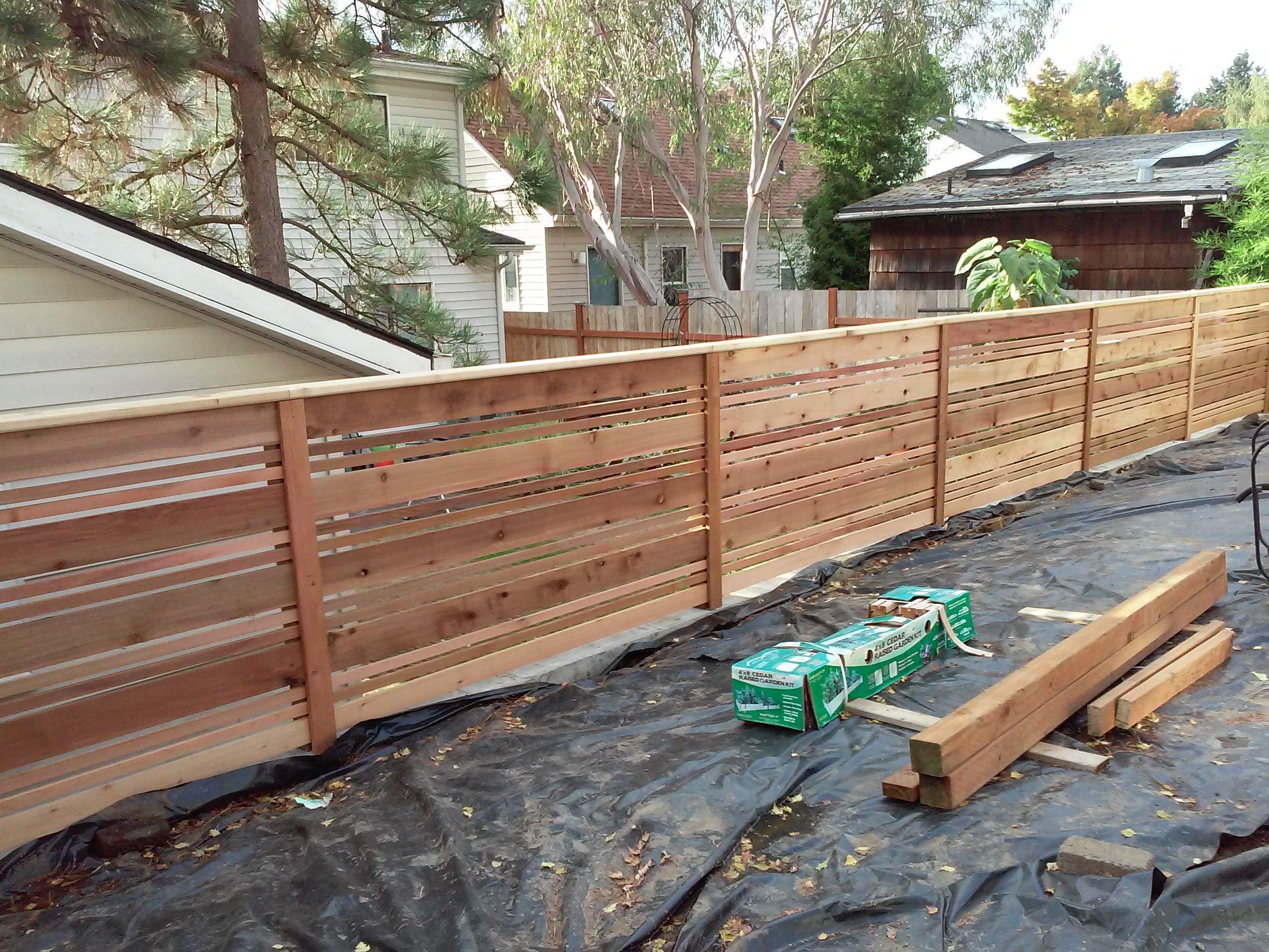 attractive custom horizontal style cedar fence portland. Black Bedroom Furniture Sets. Home Design Ideas