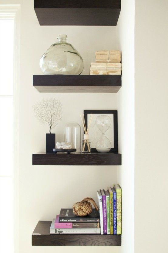 Corner Shelves I Ve Done This With Rounded Shelves For Surround Sound Tweeters But I Think I Might Do This In My Alcove It L Home Decor Decor House Interior