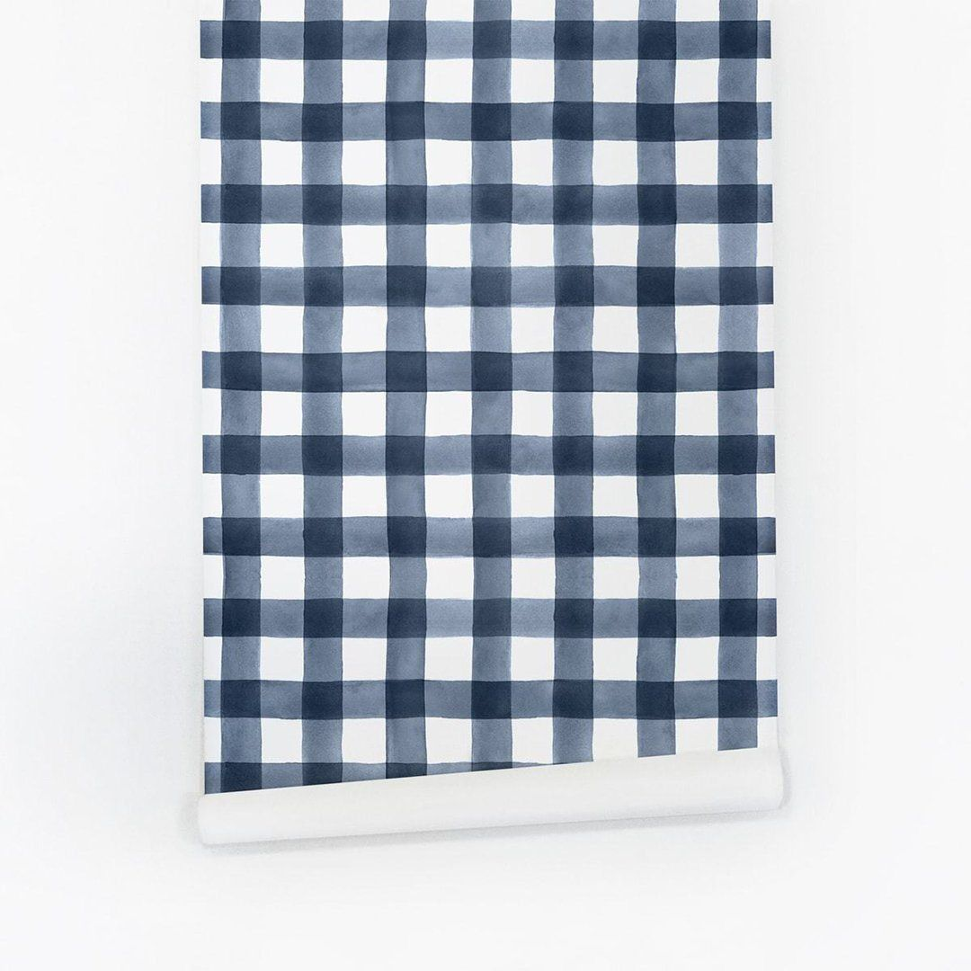 Blue Watercolor Gingham Wallpaper Removable Wallpaper Plaid Wallpaper Wallpaper