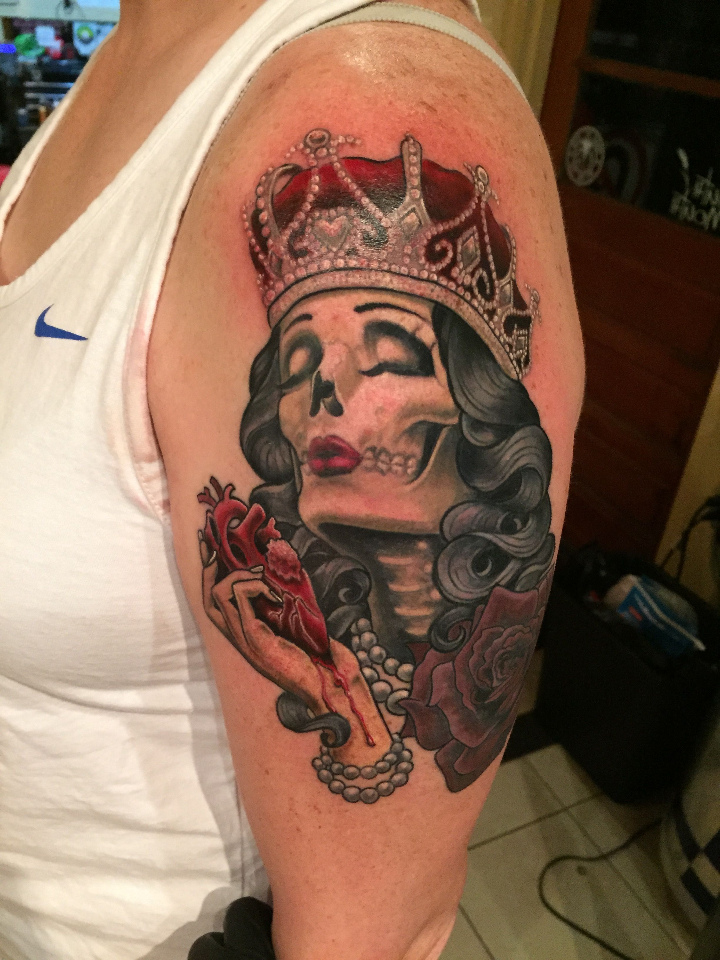 Queen Of The Dead Tattoo Queen Of Hearts Tattoo Done By