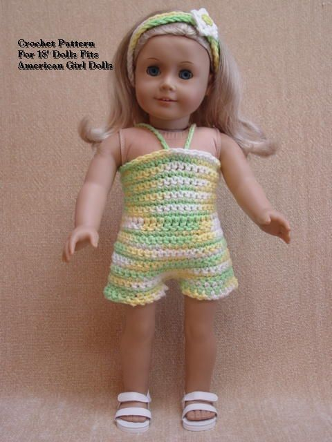 Doll Clothes Crochet Pattern #LL13 Sun Suit Fits American Girl Dolls ...