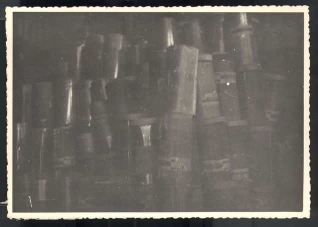 Majdanek, Poland, April 1948, Canisters of gas crystals used to gas the concentration camp prisioners.
