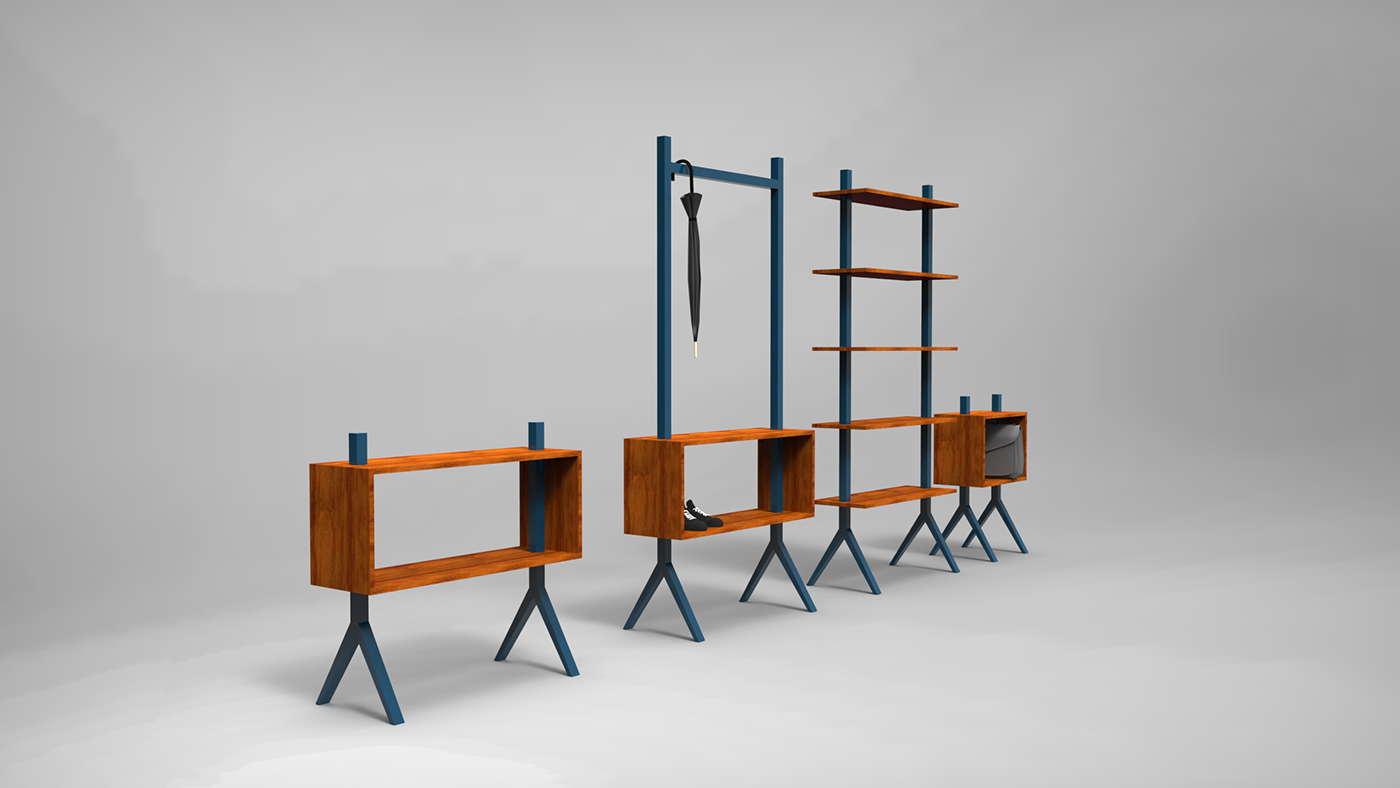 modular furniture system. A Simple Modular Furniture System Built Without Traditional Joinery, Based On The Principle That
