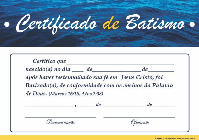 CONFIRA Certificado De Batismo Da Igreja Do Evangelho Quadrangular