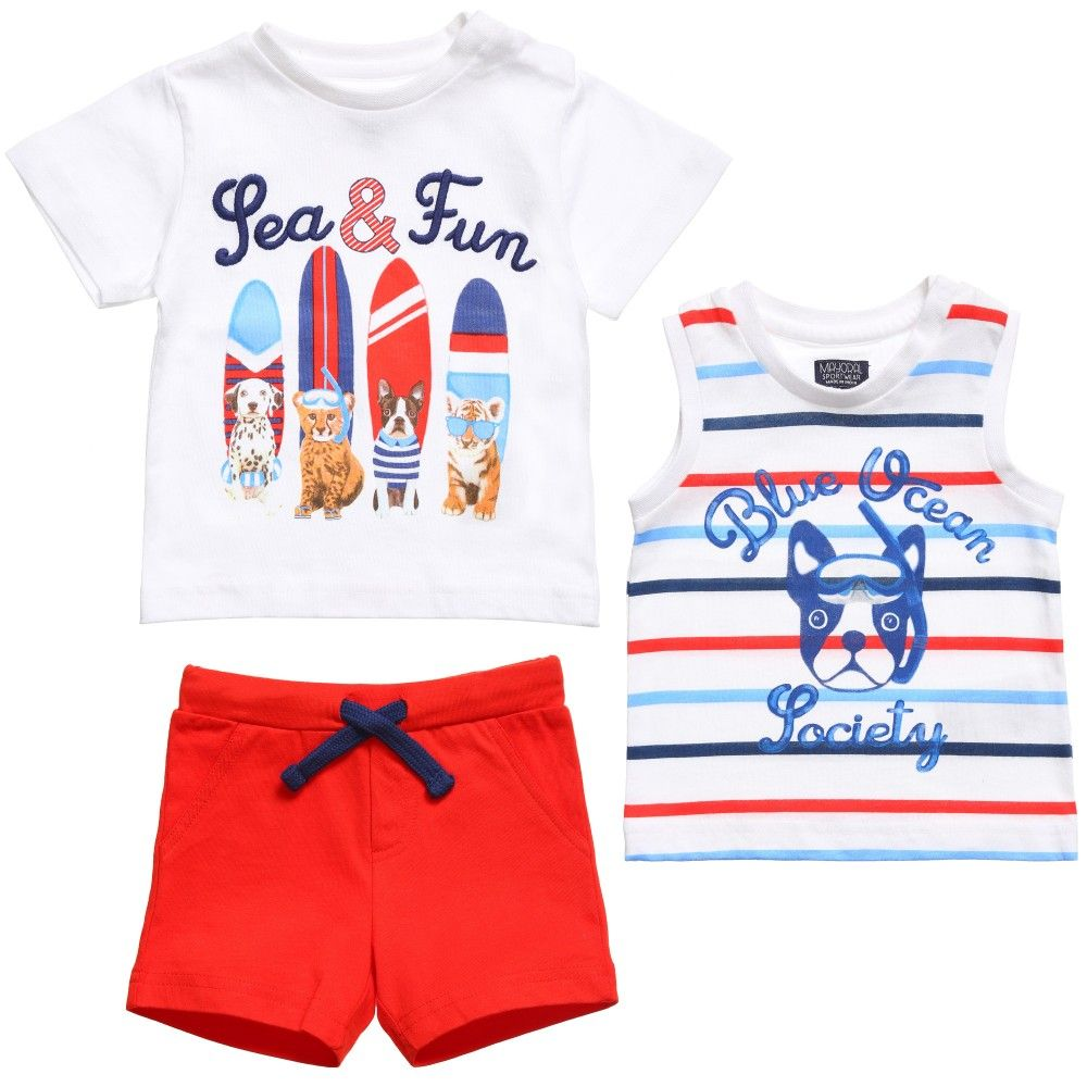 Mayoral Baby Boys Set of 2 T-Shirts & Red Jersey Shorts at ...