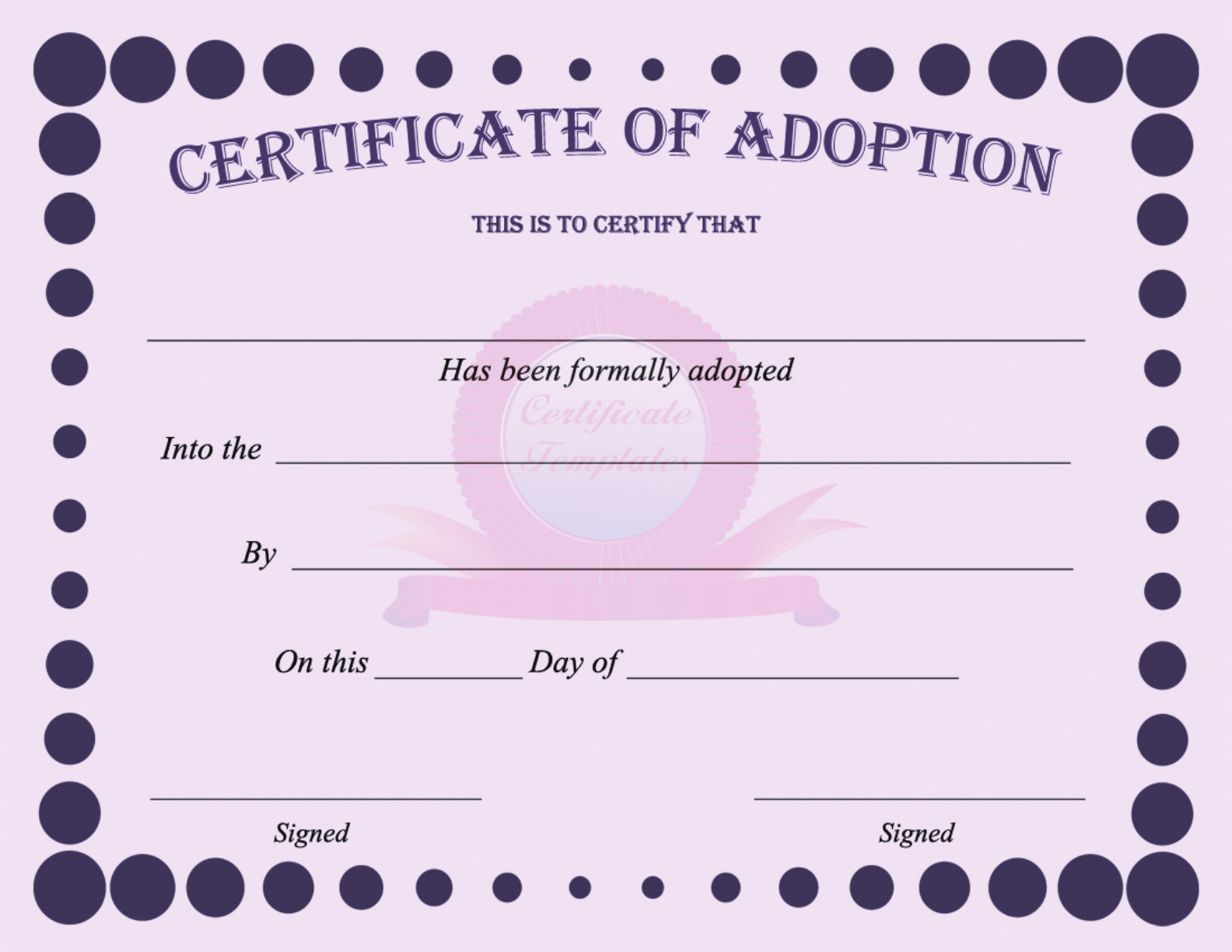15 Adoption Certificate Templates Free Printable Word Pdf