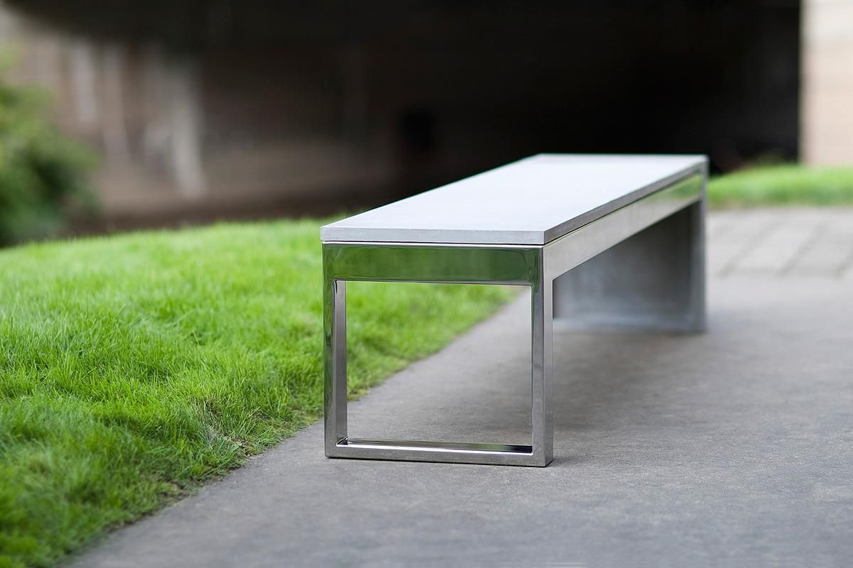 Duo Bench Shown With Polished Stainless Steel Frame And Solid Taktl Seat End
