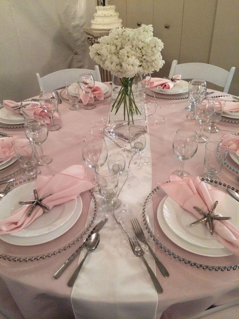 Blush Pink White Silver Wedding Table At Big Top Tent Rentals Tentcanopywedding Silver Wedding Decorations Pink Table Decorations Pink Silver Weddings
