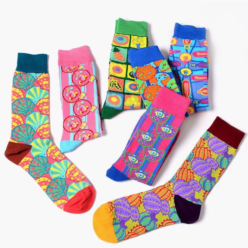 Fashion Colorful Men Novelty Wedding Socks Combed Cotton Jacquard Food Male Long Funny For